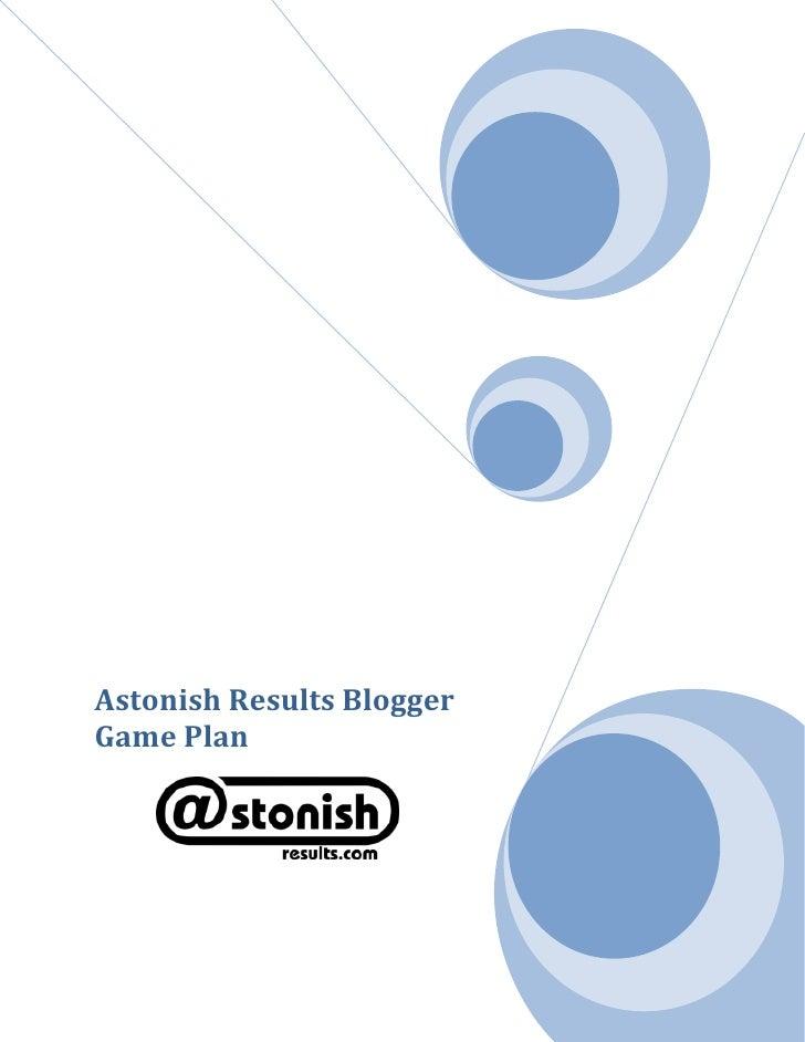 Blogger Game Plan