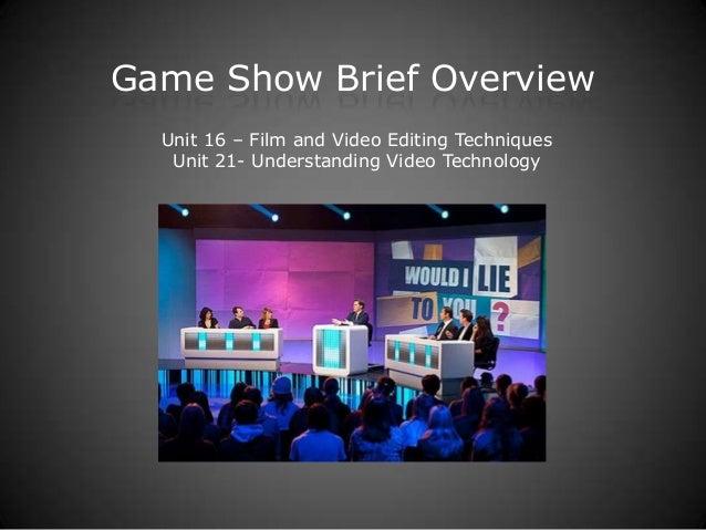 BTEC Y1 - Game Show Brief Overview