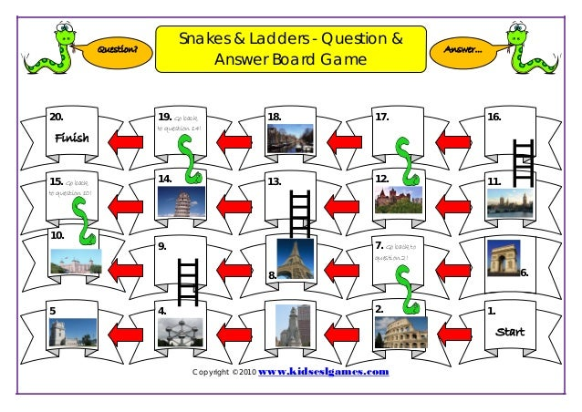 Game snakes & ladders board template
