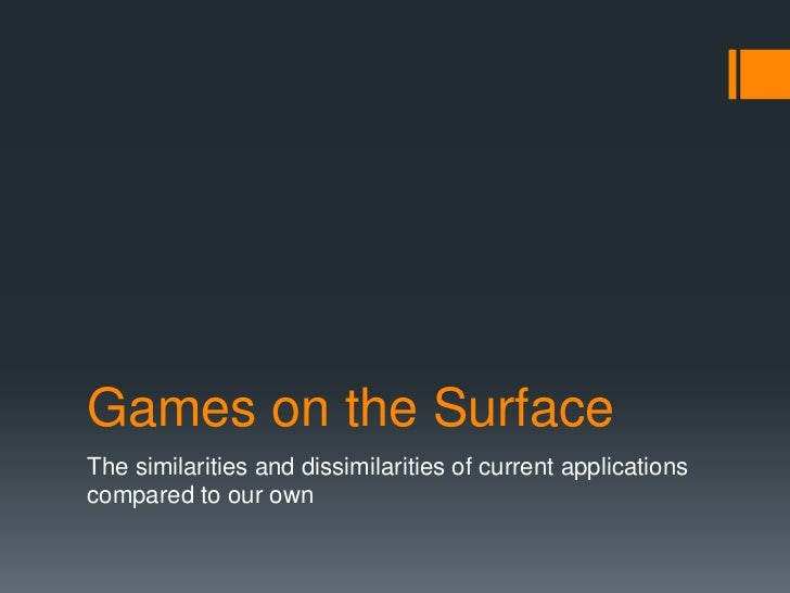 Games on the Surface<br />The similarities and dissimilarities of current applications compared to our own<br />