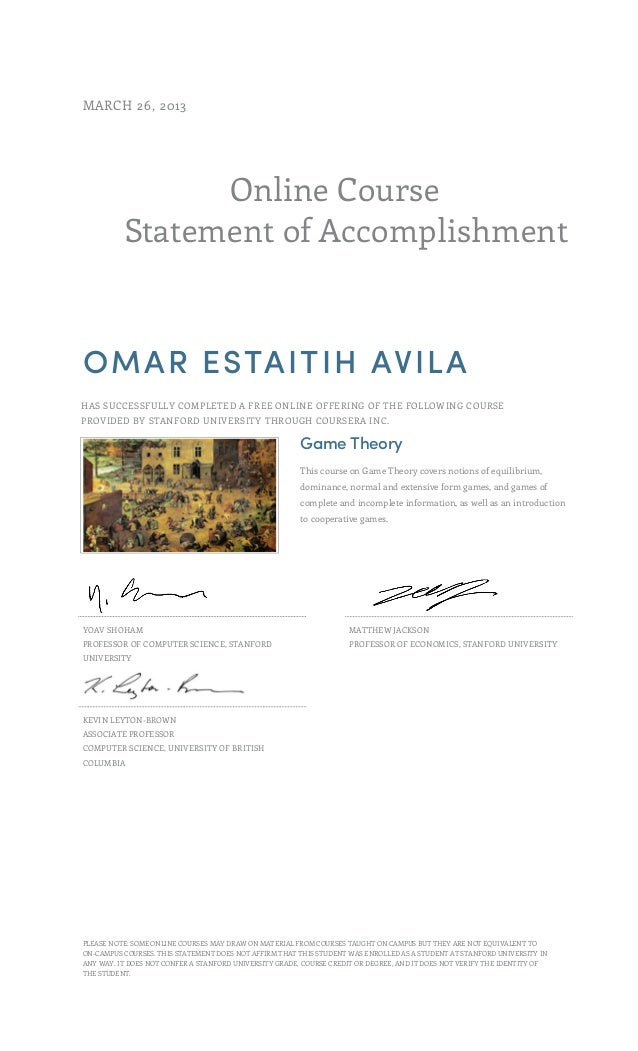 Statement of accomplishment - Game theory course