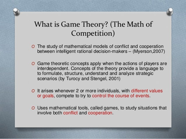 cooperative game theory thesis Cooperative game theory a game in strategic form lists each player's strategies, and the outcomes that result from each possible combination of choices.