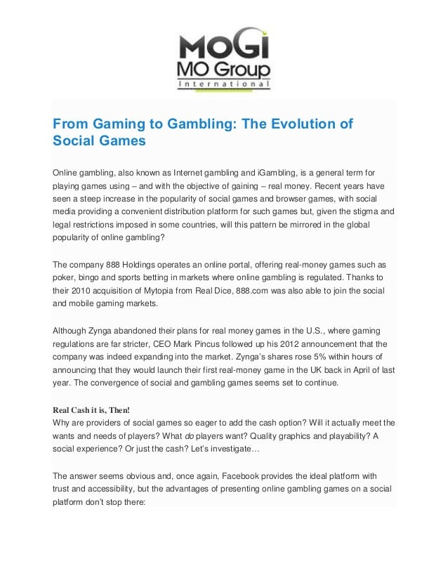 From Gaming to Gambling: The Evolution of Social Games