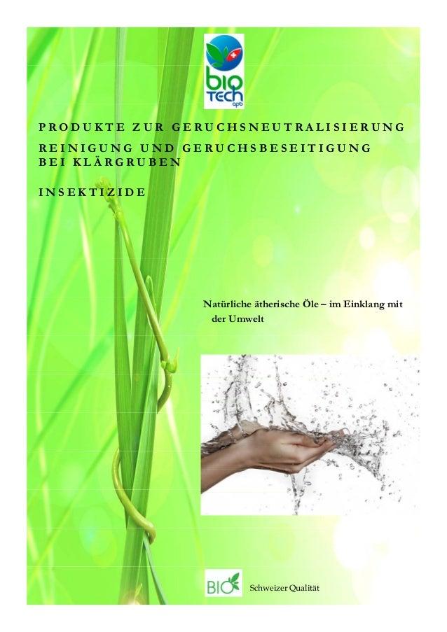 PRODUKTE ZUR GERUCHSNEUTRALISIERUNGREINIGUNG UND GERUCHSBESEITIGUNGBEI KLÄRGRUBENINSEKTIZIDE               Natürliche äthe...