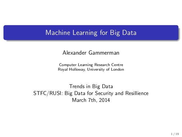Alexander Gammerman - Machine Learning for Big Data