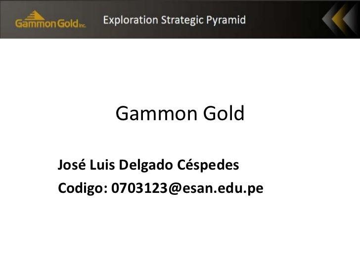 Gammon Gold<br />José Luis Delgado Céspedes<br />Codigo: 0703123@esan.edu.pe<br />