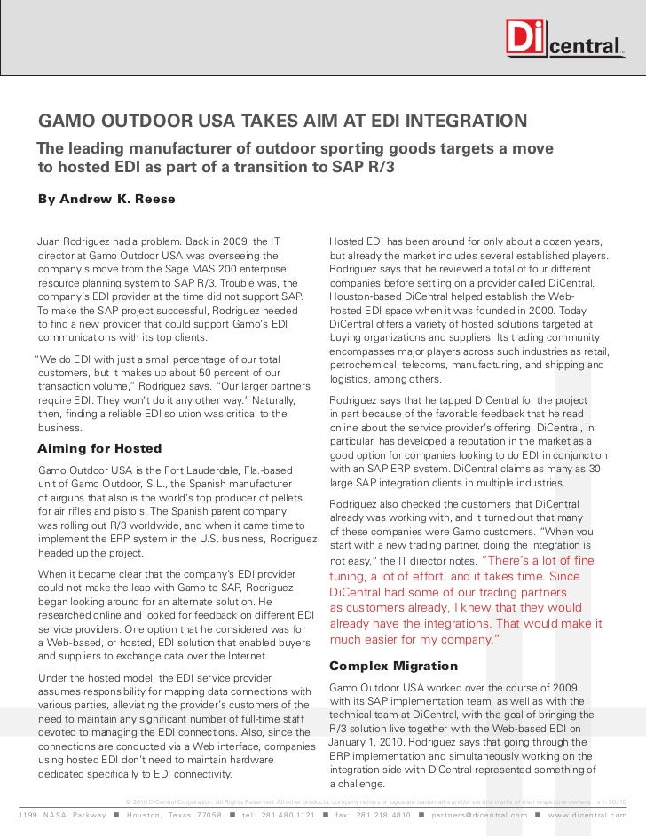 Gamo outdoor uSa takeS aim at edi inteGration     the leading manufacturer of outdoor sporting goods targets a move     to...