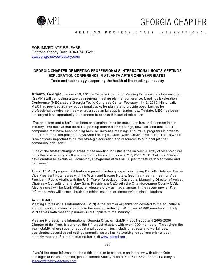 Gampi MEC Press Release