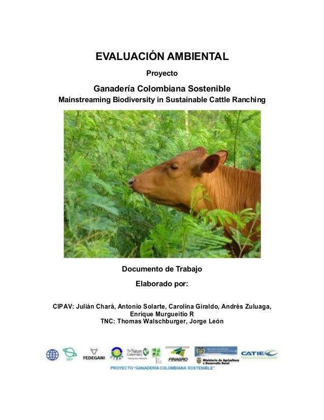 EVALUACIÓN AMBIENTAL Proyecto Ganadería Colombiana Sostenible Mainstreaming Biodiversity in Sustainable Cattle Ranching Do...