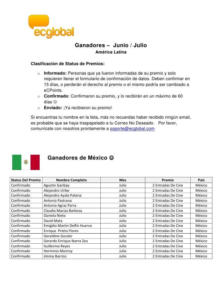 Ganadores – Junio / Julio                                                   América Latina           Clasificación de Stat...