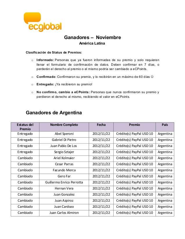 Ganadores – Noviembre                                            América Latina     Clasificación de Status de Premios:   ...