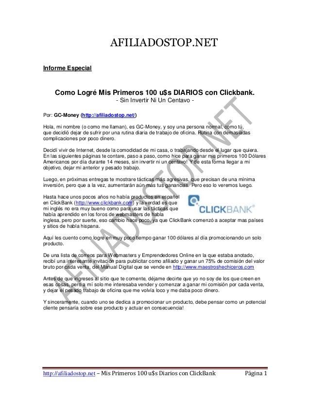 AFILIADOSTOP.NETInforme Especial     Como Logré Mis Primeros 100 u$s DIARIOS con Clickbank.                               ...