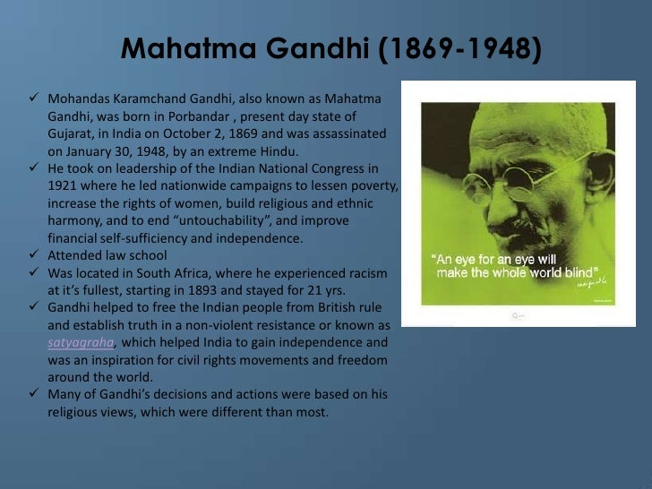 an analysis of the quote of mahatma ghandi