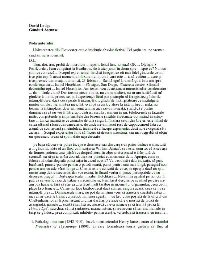 DavidLodgeGânduriAscunseNotaautorului:    Universitateadin Gloucesteresteoinstituţieabsolutfictivă.Celpuţin...