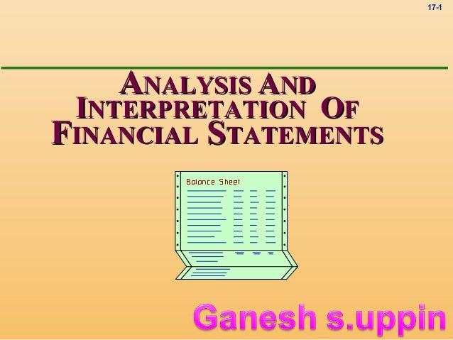 17-1    ANALYSIS AND INTERPRETATION OFFINANCIAL STATEMENTS