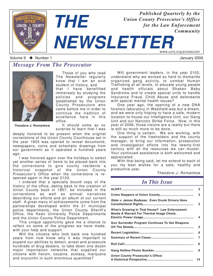 Published Quarterly by the                          THE                                           Union County Prosecutor'...