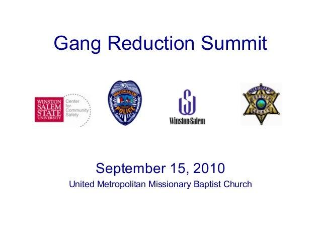 September 15, 2010 United Metropolitan Missionary Baptist Church Gang Reduction Summit