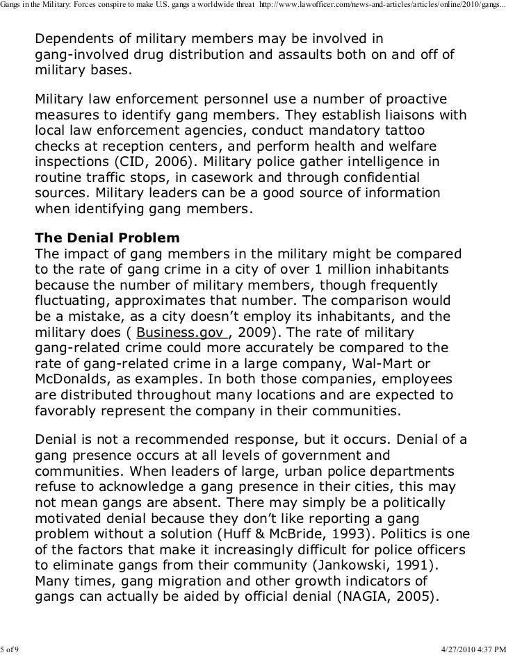 gangs in the us military essay Example essay on hardships joining the military -with a free essay review - free essay reviews the physician at the examination room inspected each one of us.