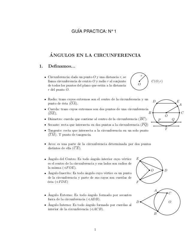 ´ANGULOS EN LA CIRCUNFERENCIA1. Definamos...Circunferencia: dado un punto O y una distancia r, sellama circunferencia de ce...