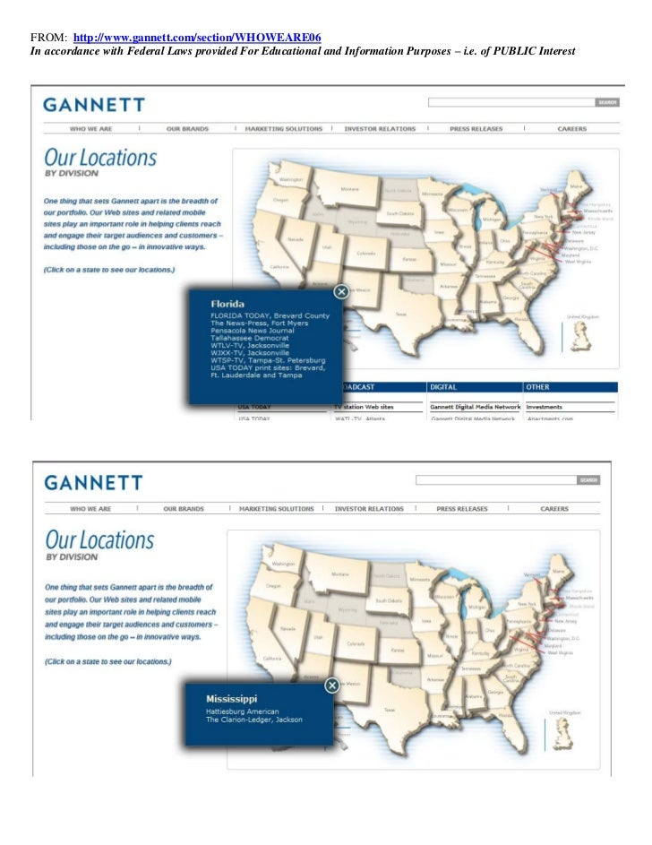 FROM: http://www.gannett.com/section/WHOWEARE06In accordance with Federal Laws provided For Educational and Information Pu...