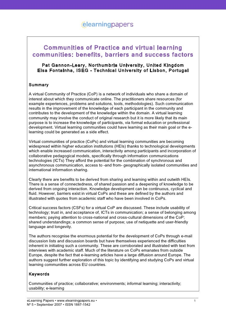 Communities of Practice and virtual learning    communities: benefits, barriers and success factors         Pat Gannon-Lea...