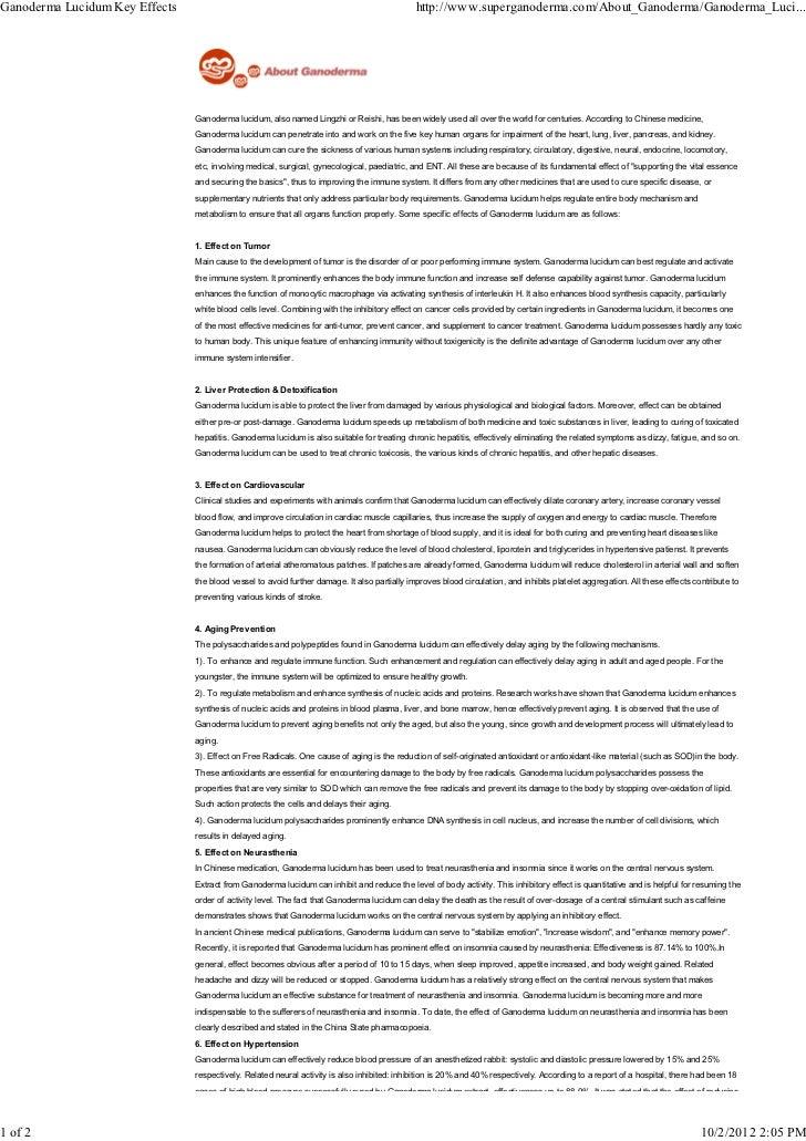 Ganoderma lucidum key effects