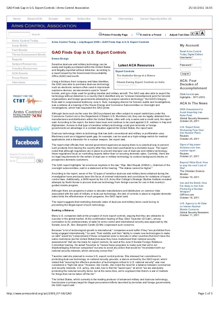 GAO Finds Gap in U.S. Export Controls | Arms Control Association                                                          ...