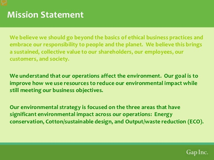 gap inc goals and objectives San francisco – march 19, 2018 – gap inc (nyse: gps) today unveiled a  new sustainable manufacturing goal to conserve a total of 10.