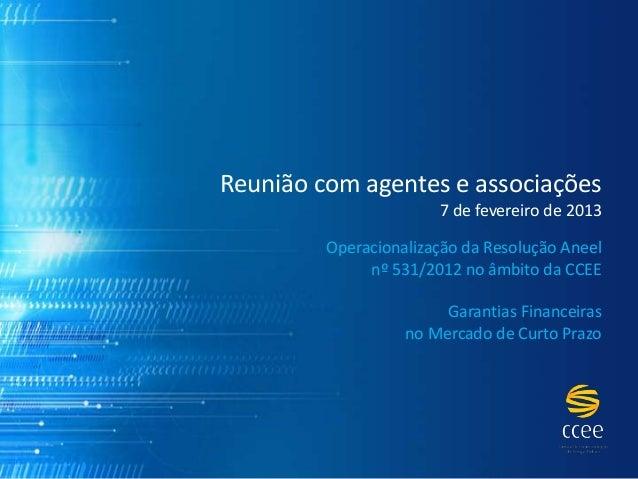Garantias Financeiras - Operacionalização da Resolução Aneel nº 531/2012 no âmbito da CCEE