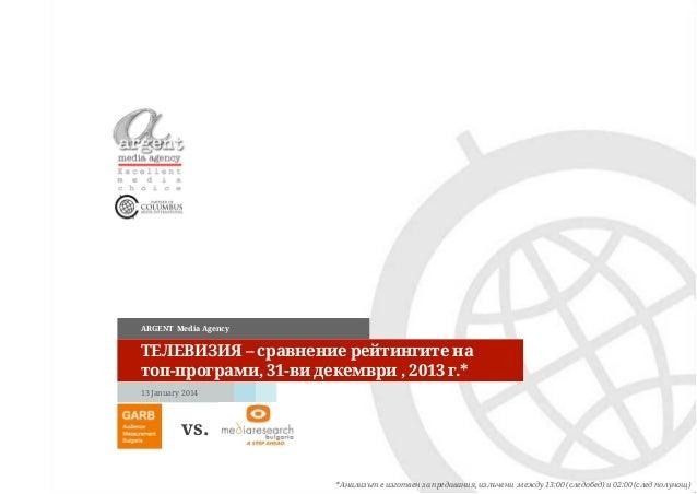 ARGENT Media Agency  ТЕЛЕВИЗИЯ – сравнение рейтингите на топ-програми, 31-ви декември , 2013 г.* 13 January 2014  vs. *Ана...