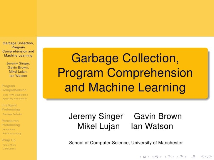 Garbage Collection, Program Comprehension and Machine Learning