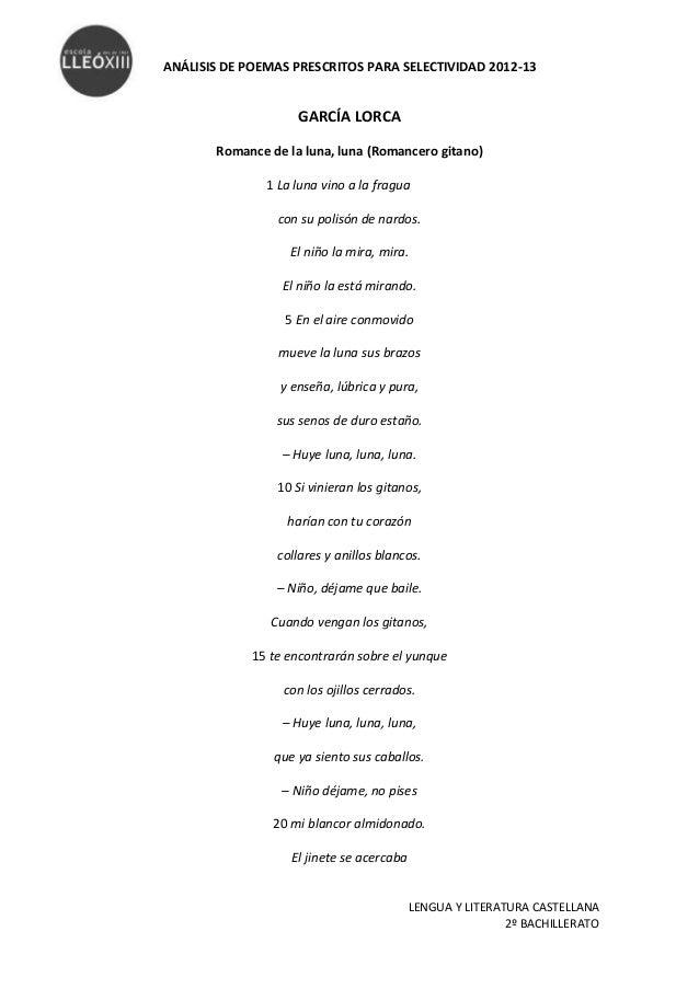 ANÁLISIS DE POEMAS PRESCRITOS PARA SELECTIVIDAD 2012-13                    GARCÍA LORCA       Romance de la luna, luna (Ro...