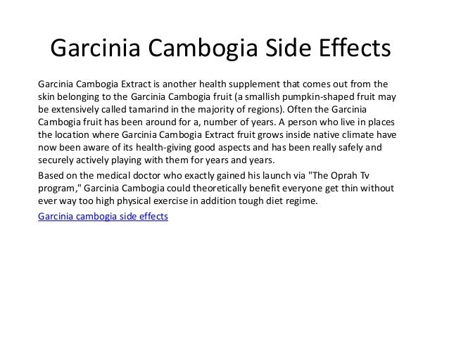 bad side effects to garcinia cambogia
