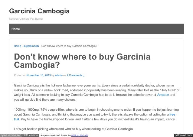 Don't know where to buy Garcinia Cambogia?