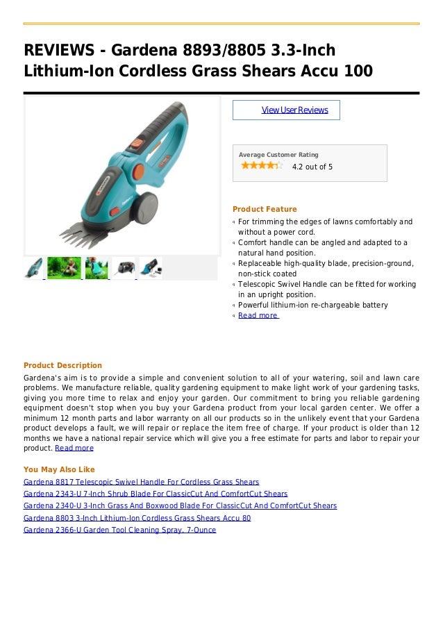 Gardena 8893 8805 3.3 inch lithium-ion cordless grass shears accu 100