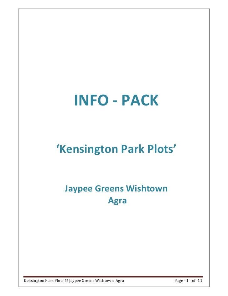 INFO - PACK                'Kensington Park Plots'                     Jaypee Greens Wishtown                             ...