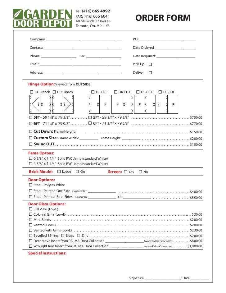 Garden Door Depot Order Form With Pricing