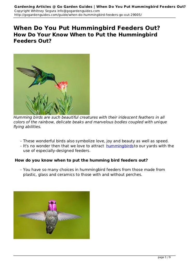 Gardening Articles @ Go Garden Guides   When Do You Put Hummingbird Feeders Out?Copyright Whitney Segura info@gogardenguid...