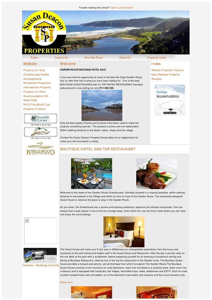 Garden route boutique hotel sale