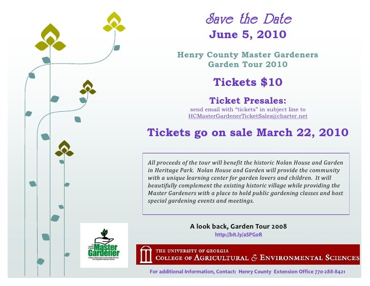 Save the Date                         June 5, 2010            Henry County Master Gardeners                  Garden Tour 2...