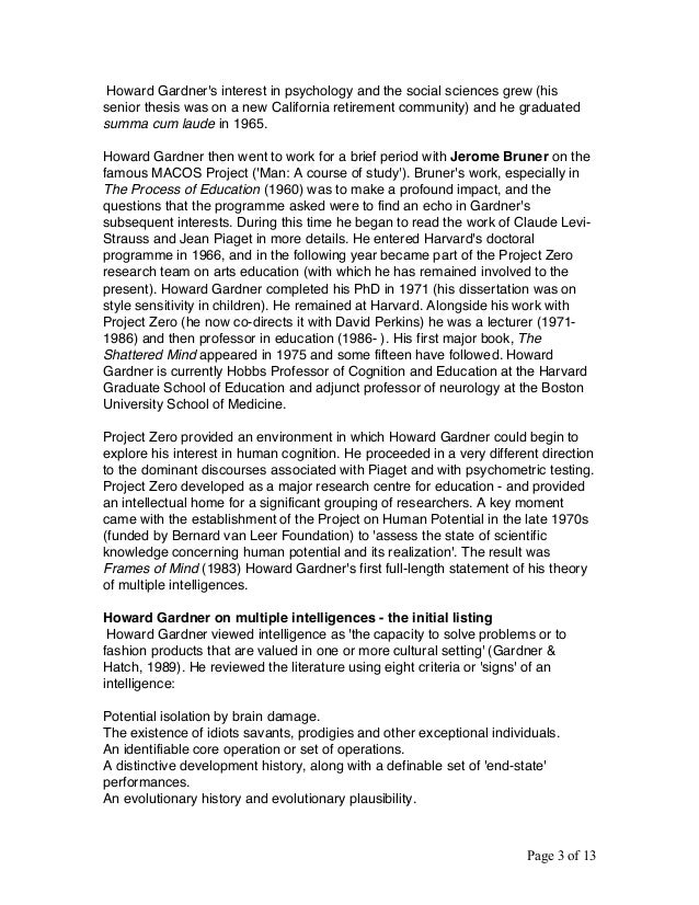 howard gardner essay ⋆ education essay examples ⋆ essayempire gardner theory multiple intelligences essay