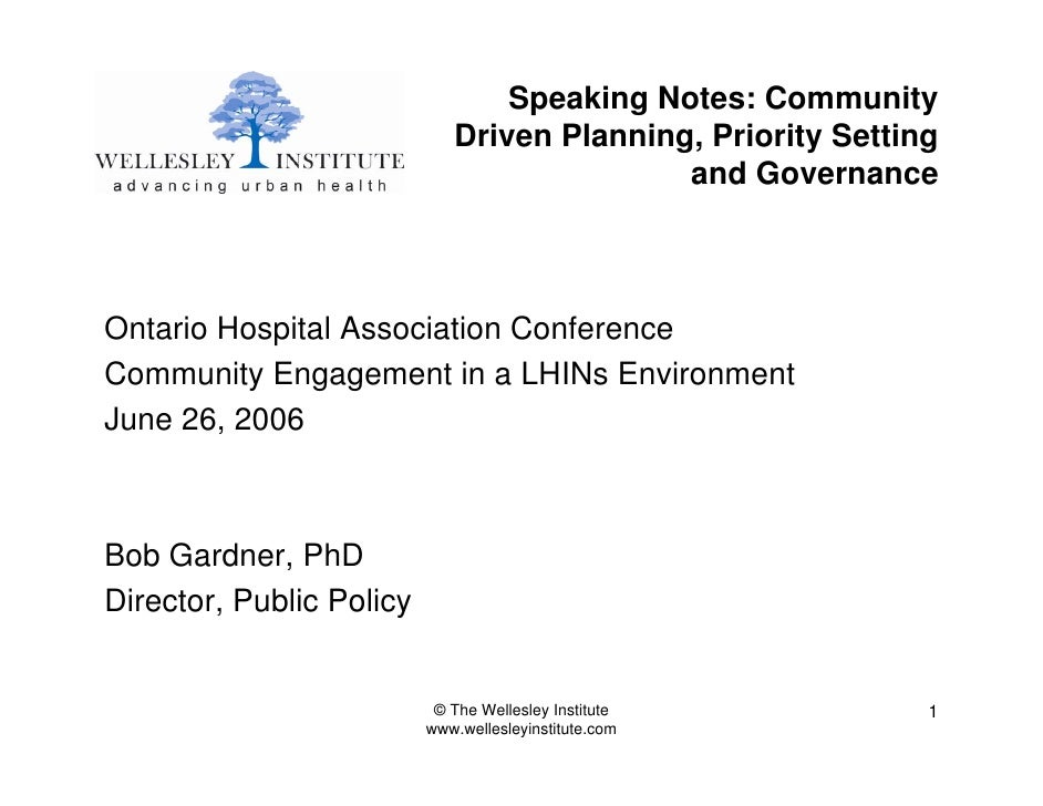 Speaking Notes: Community                              Driven Planning, Priority Setting                                  ...