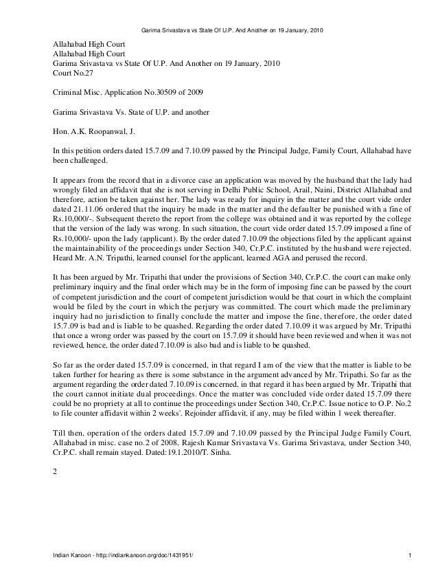 Garima Srivastava vs State Of U.P. And Another on 19 January, 2010Allahabad High CourtAllahabad High CourtGarima Srivastav...