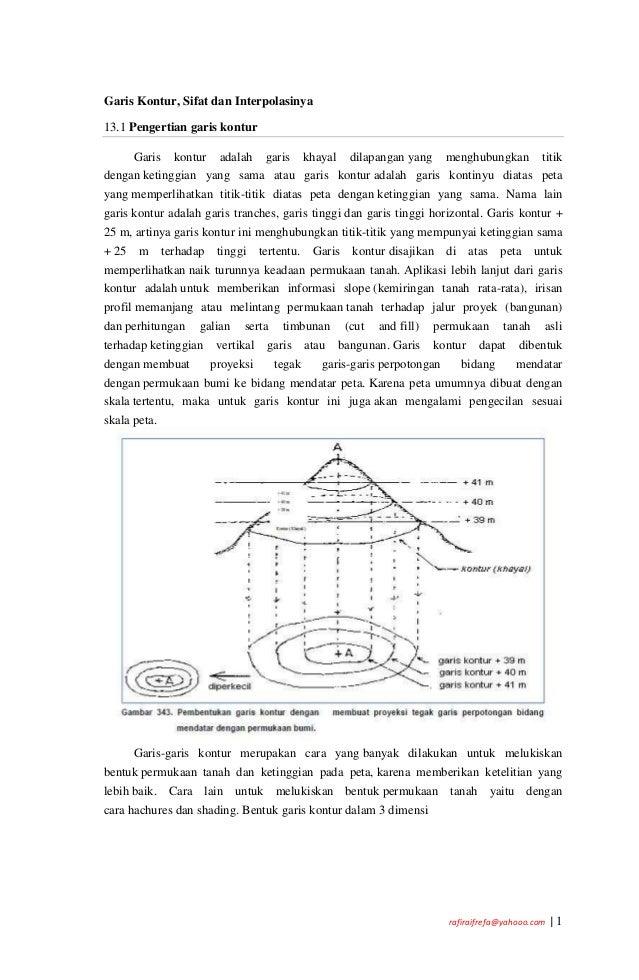 rafiraifrefa@yahooo.com | 1 Garis Kontur, Sifat dan Interpolasinya 13.1 Pengertian garis kontur Garis kontur adalah garis ...