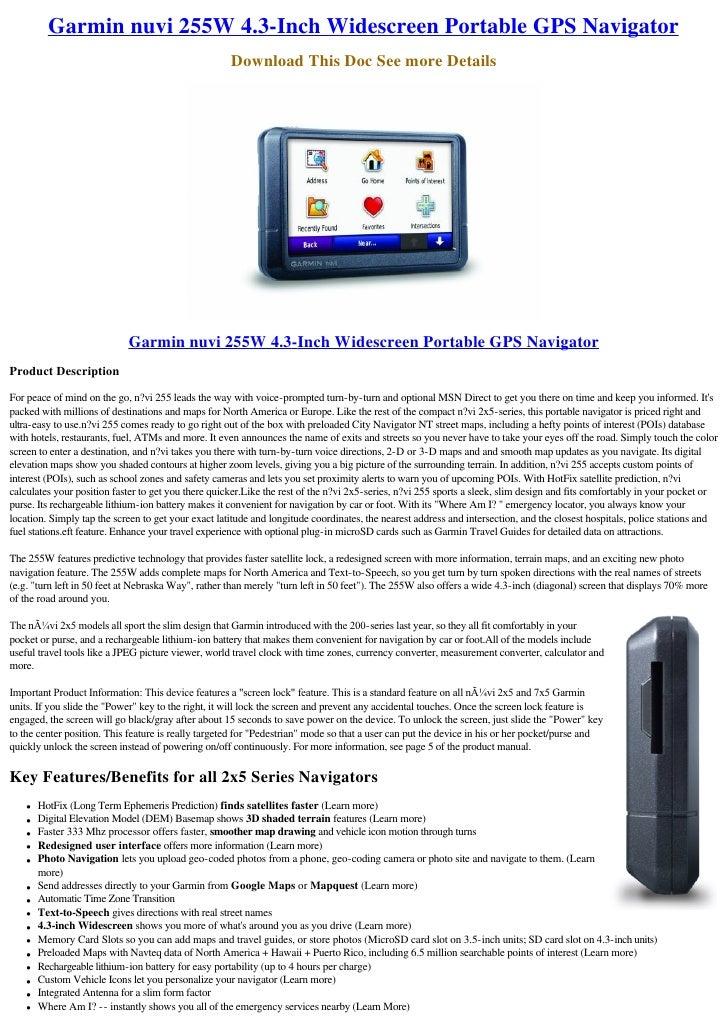Garmin Nuvi 255 W 4 3 Inch Widescreen Portable Gps Navigator