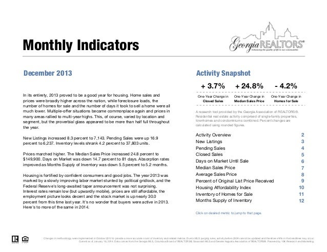 Georgia Association of Realtors Stats for December 2013
