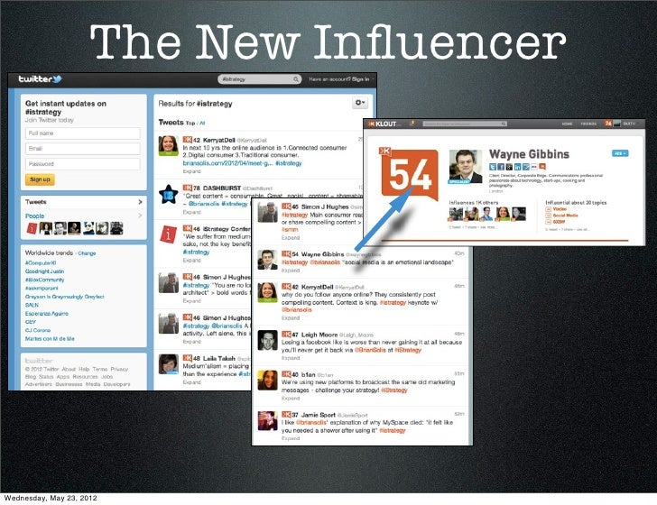 The New InfluencerWednesday, May 23, 2012