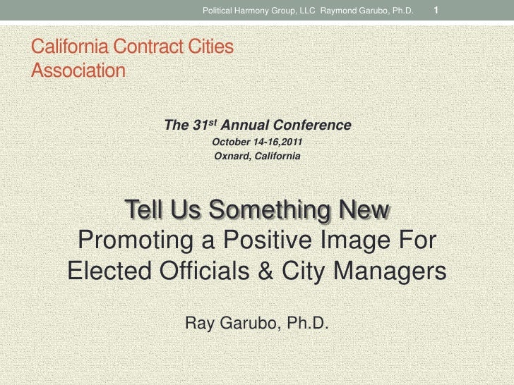Ray Garubo - Promoting A Positive Image For Elected Officials