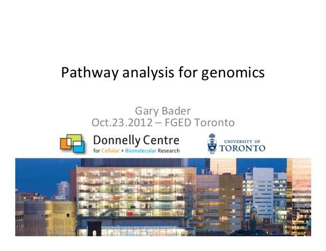 Pathway  analysis  for  genomics   Gary  Bader   Oct.23.2012  –  FGED  Toronto