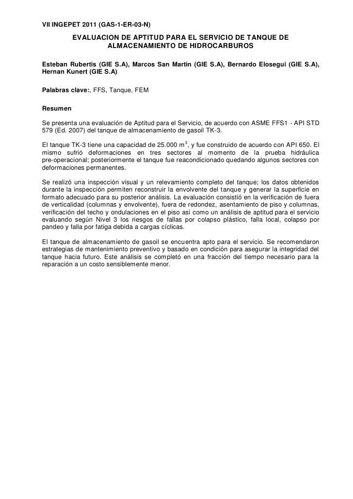 VII INGEPET 2011 (GAS-1-ER-03-N)          EVALUACION DE APTITUD PARA EL SERVICIO DE TANQUE DE                  ALMACENAMIE...